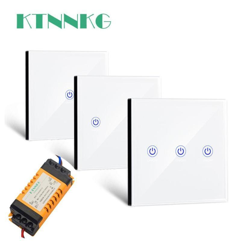 interruptor de control de luz inalámbrico 110V 220V 433Mhz con blanco contacto 86 de control remoto de pared para luz del pasillo araña