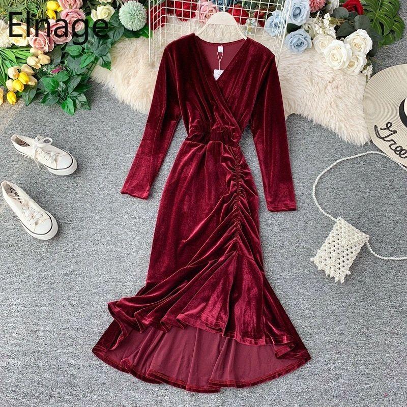 Elnage Autunno vino rosso temperamento Fishtail Vestito a sirena con scollo a V abito vita sottile sfondo di velluto dorato d'epoca Abiti per le donne 5A751 ozFJ #