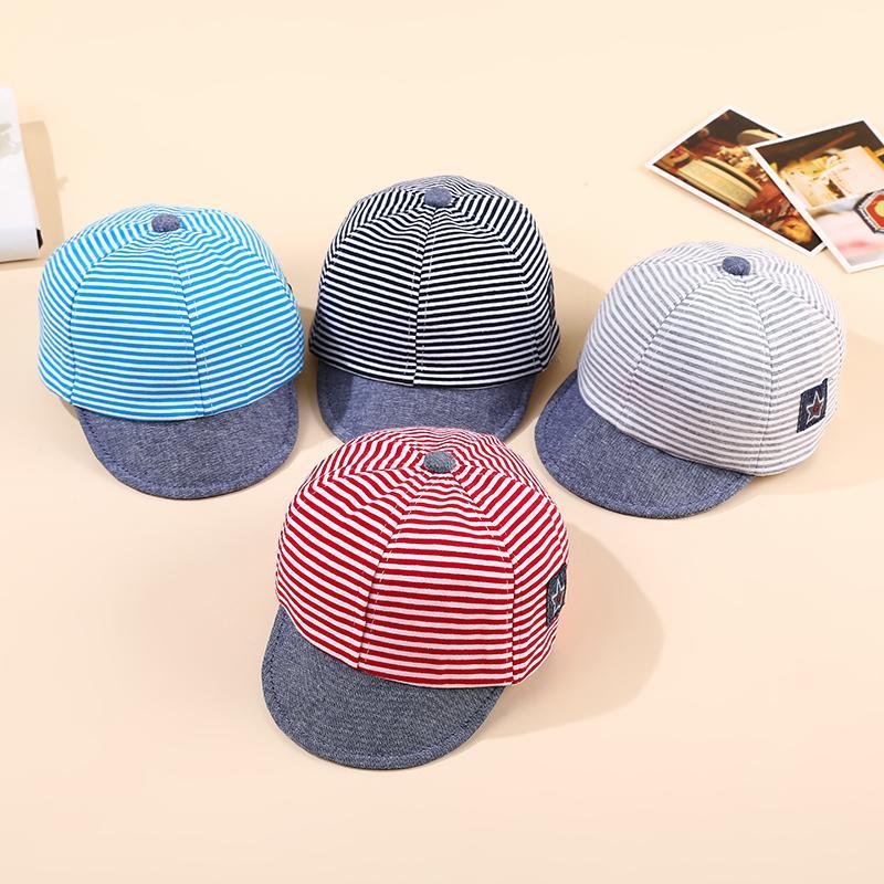 Детские Hat Полосатого младенца хлопок Cap Star Маркированного Visor Hat для новорожденных малышей лето бейсбола Sun мальчиков девочек