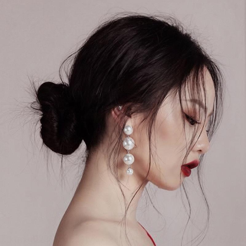 1r1jJ Einfache Temperament 925 silberne Ohrringe earringsFrench unregelmäßige lange Perlen eardrop für Frauen Einfache Temperament Ohrring Schmuck 925 si