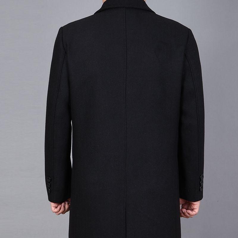 Lã lã Windbreaker dos homens de lapela de lã casaco de comprimento médio dos homens de lã casaco corta-vento de meia-idade