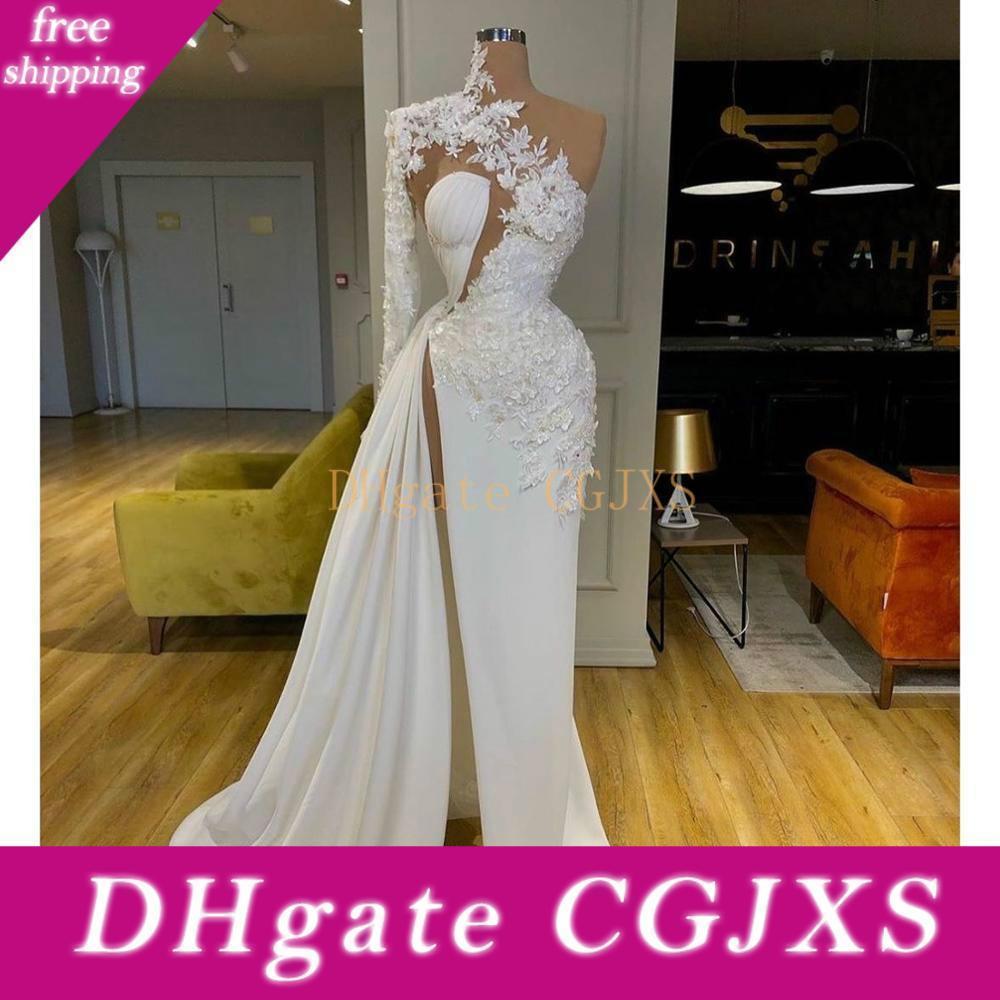 2020 árabe Dubai Exquisite Lace Branco Prom Vestidos alta pescoço de um ombro manga comprida Formal Evening vestidos Side Dividir vestido de festa