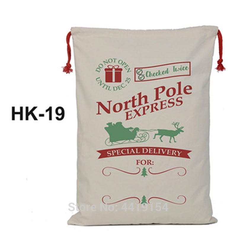 Porción al por mayor 30pcs de Santa Sacos de Navidad lienzo caramelo Storge Bolsas de gran capacidad con cordón bolso para los niños y regalo tsetxvp home2001