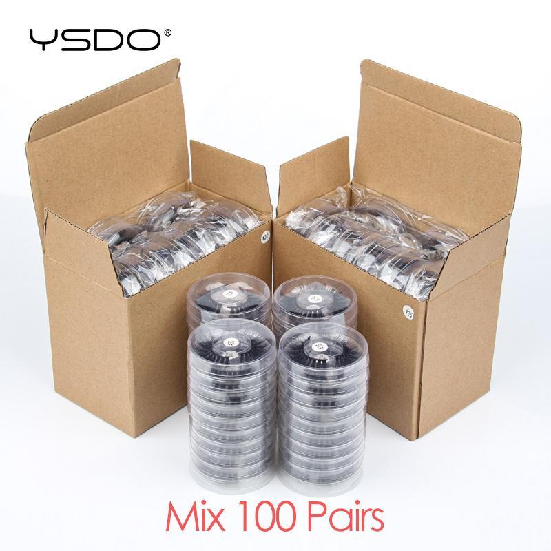YSDO Lashes all'ingrosso 20/30/40/50/100 Pairs 3D visone ciglia trucco spessi Mink Lashes Bulk naturale cigli falsi bioccoli