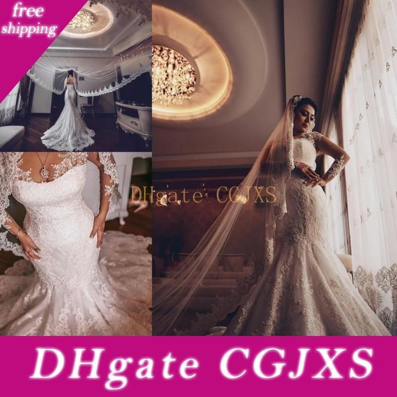 Africano baratos Sereia vestidos de casamento Jewel Neck ilusão completa Lace apliques de mangas compridas Plus Size Tulle Sweep Trem vestido nupcial Formal