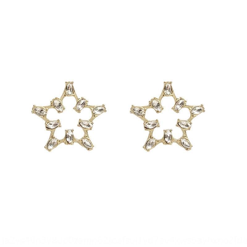 4W6cX S925 серебро супер Корейская элегантная простой сладкая полая из пятиконечной звезды алмазов персонализированных игл Феи женщины алмаз earri PN0Ww