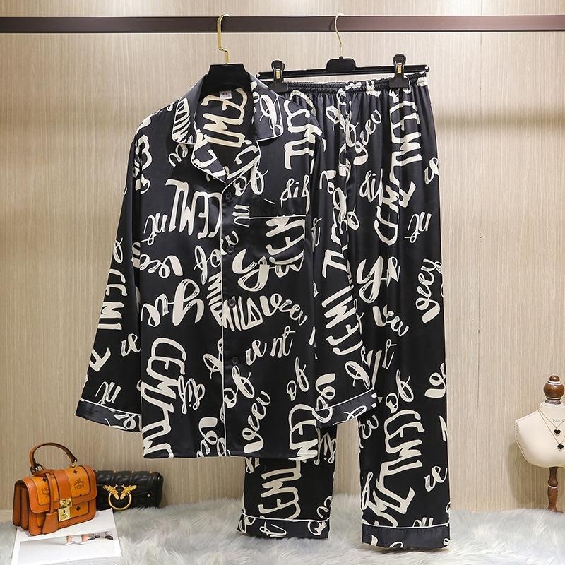 WA1XC primavera e l'estate pigiami dei nuovi pigiami di seta del ghiaccio di seta dei graffiti degli uomini Internet Celebrity set nuova casa vestiti lunga manica
