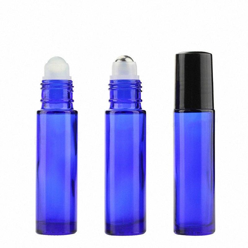 Горячая Продажа Толстого 10мл Blue Glass Эфирного масло Духи Roll On Бутылки 1/3 Пустых бутылок Роликового мяча с Для путешествий Использования JO0c #