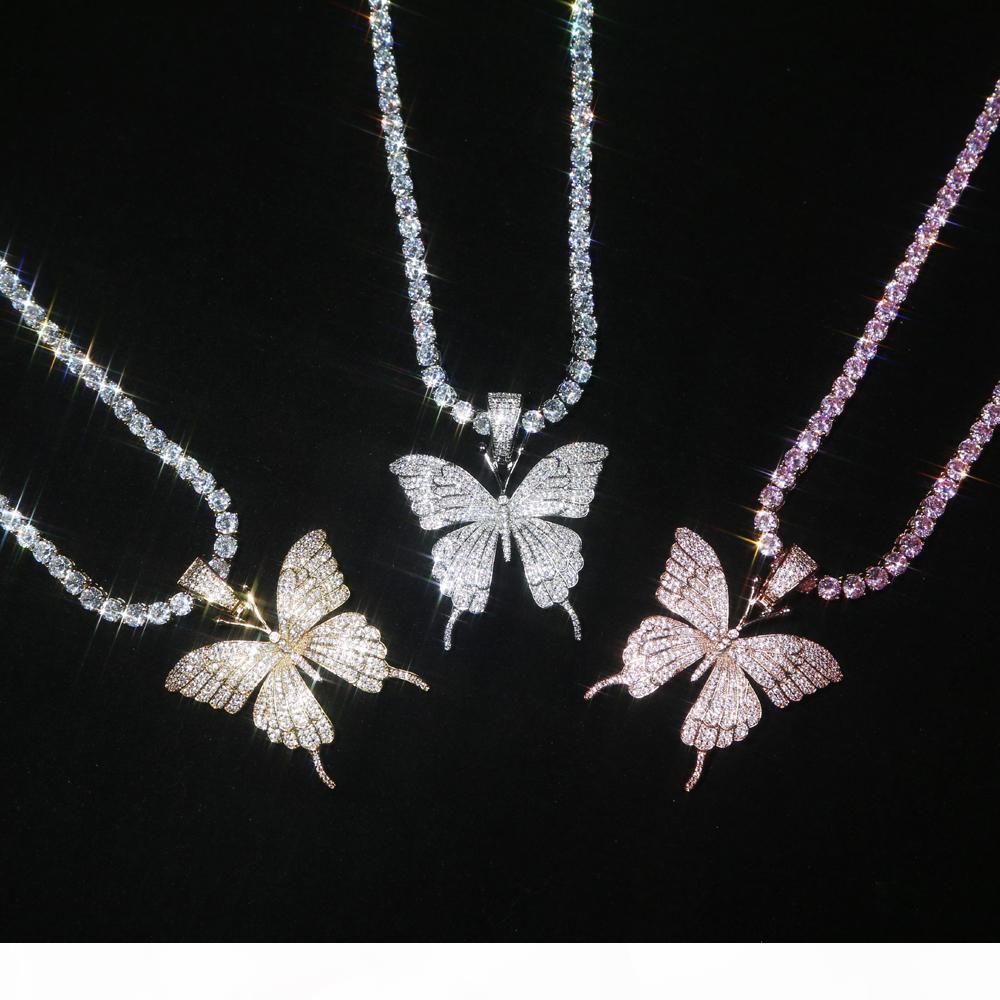 Pingente de borboleta rosa para fora congelado animal com Ténis Corrente de Ouro Prata Rosegold Cubic Zircon Homens Mulheres Colar Hiphop Jóias