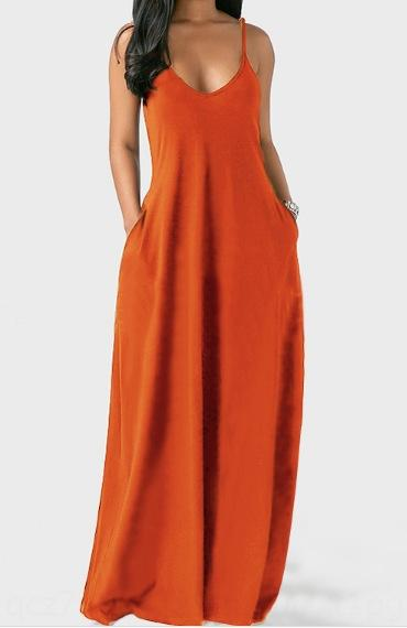 2020 Verão novo tamanho grande roupas femininas Sling saia longa de cor sólida sexy profunda V suspender saia longa para as mulheres QCgWW