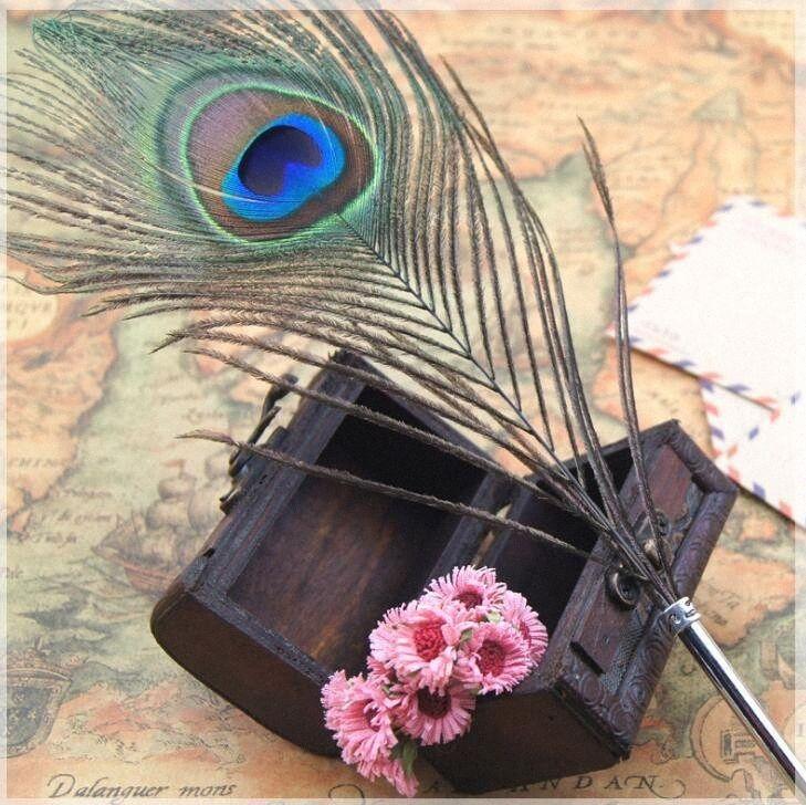Tüy Tükenmez Kalem Renk Mürekkep Kalem Kırtasiye Peacock Feather Şekli Kalem İçin Bireysellik Öğrenci Noel Doğum Hediye LJJG489 N M RuVK #