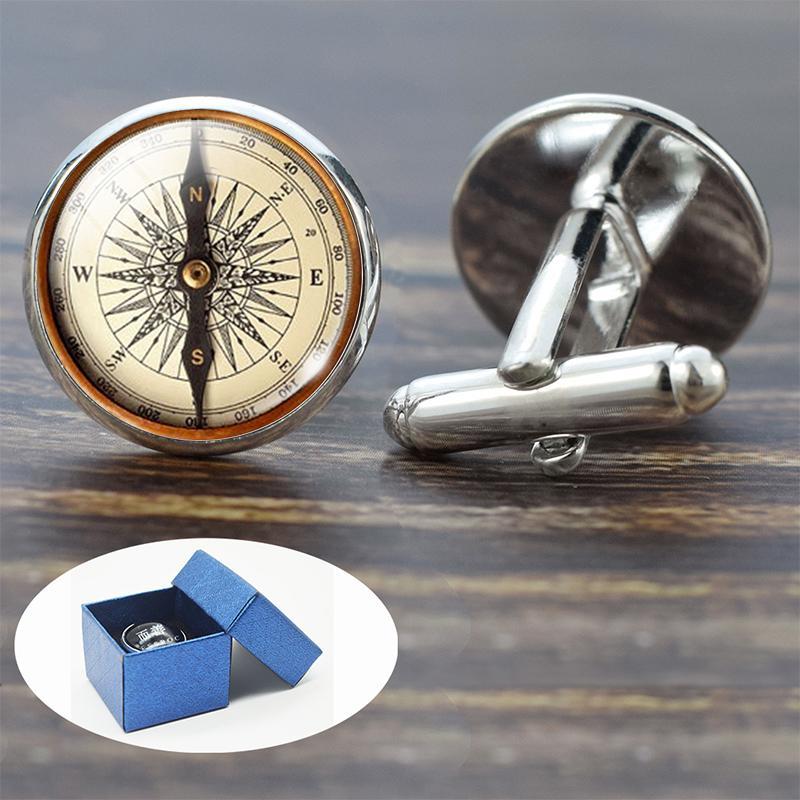 Compass Manchette Vintage Compass Horloge Bateau à voile alliage Motif Boutons de manchette pour hommes en verre Cadeau Cabochon (Ce ne est pas une véritable boussole)