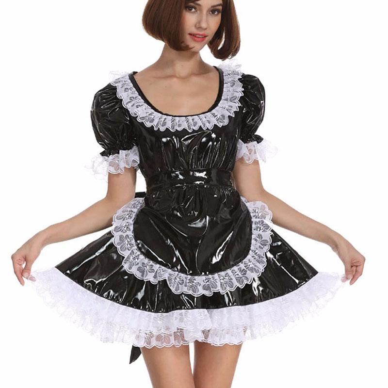 15 couleurs dentelle blanche Splicing Femme de ménage cosplay costume dame PVC robe à manches courtes Mini Lolita Cosplay Costume de belles avec tablier