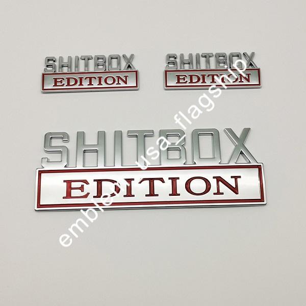 مل 3pcs أحمر 1 + 2 SHITBOX EDITION كروم شارات الشحن المجاني