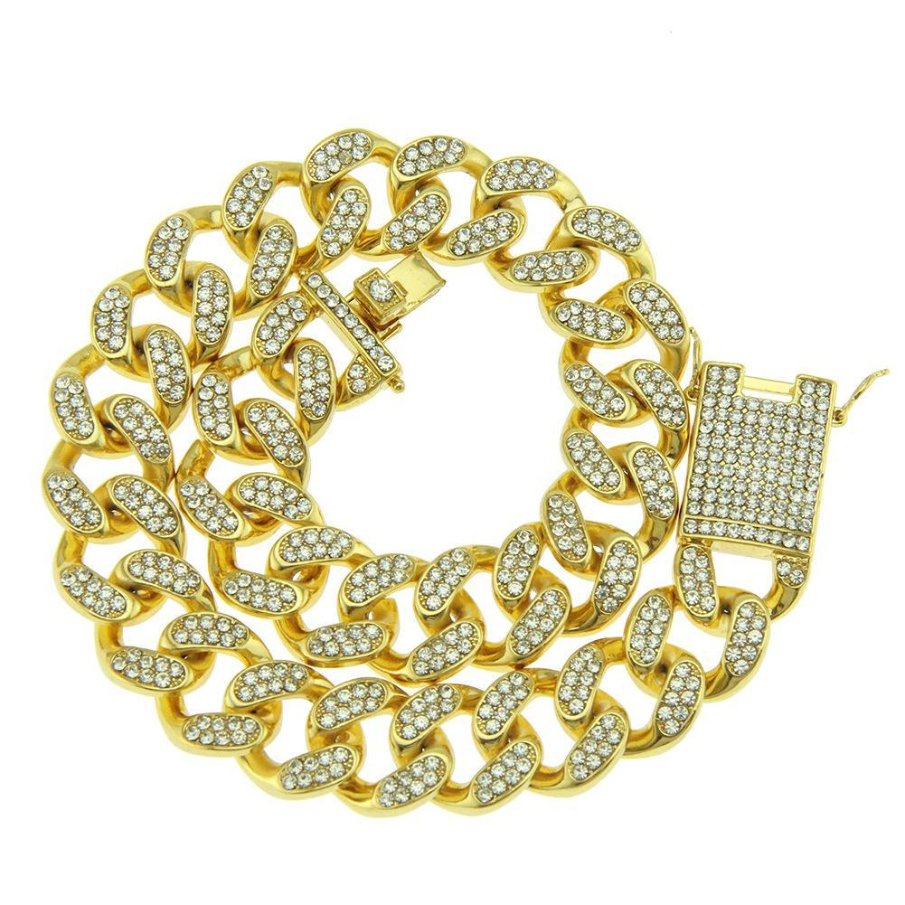 20mm New Fashion Hip Hop Mens Gold Bling Diamond Cuban Link Chain Necklace Choker Masculina Bijoux Jewelry Heavy Miami Curb Chains for Men