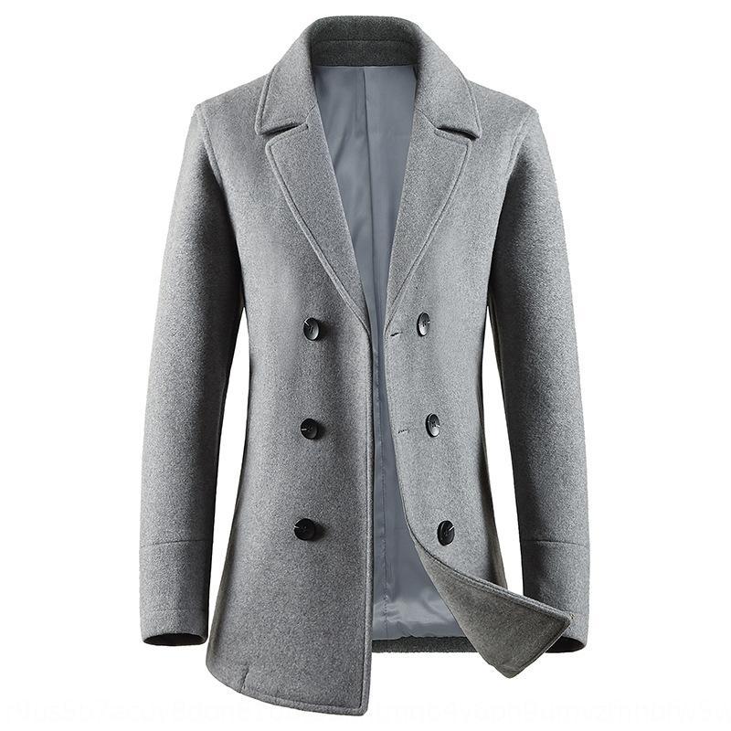 Los hombres de corta doble-Pecho en el collar de lana otoño e invierno de lana delgada capa del juego de la capa de lana ocasional