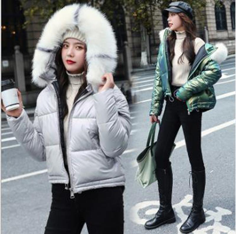 Großhandel Mode-Winter neue ins Frauen kurz große Pelzkragen verdickt hell Student Brotmantel Steppjacke