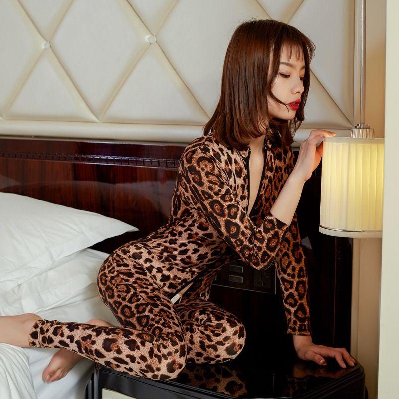 aR45L 7WMmt open-gamma leopardo stampa doppia cerniera tuta sexy sexy trasparente Pinxian mutande mutande biancheria intima open-rang
