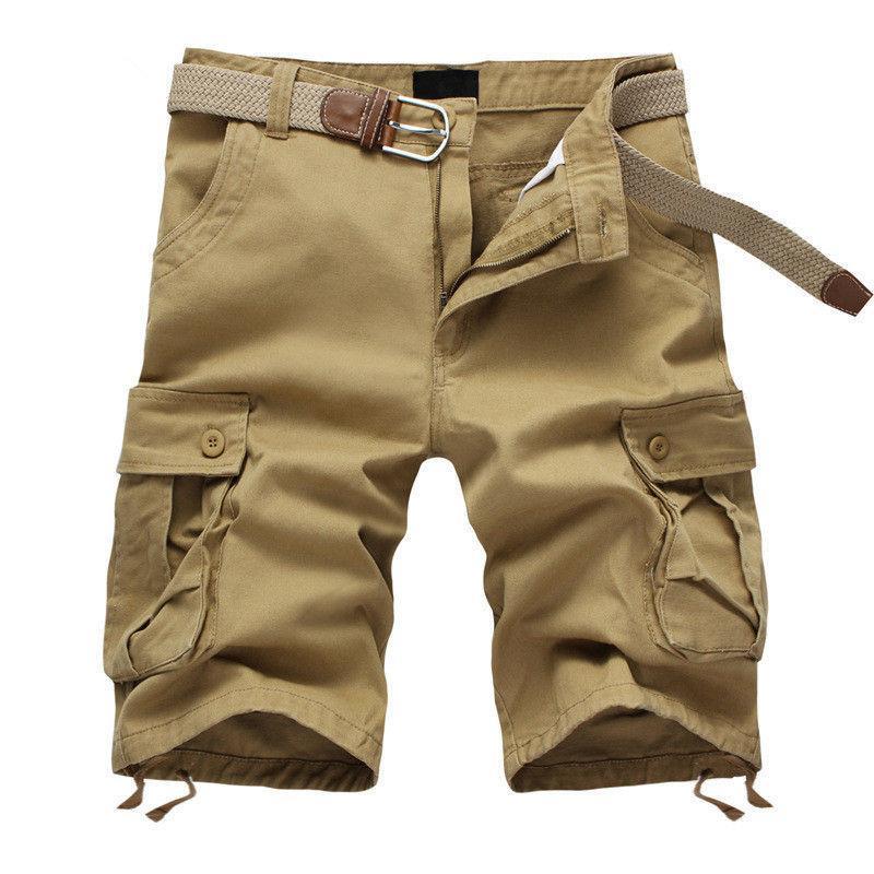 2020 Yaz Erkek Baghee Çok Pocket Askeri Kargo Şort Erkek Pamuk Haki Erkek Taktik Şort Kısa Pantolon 29-44 No Kemer Y200901