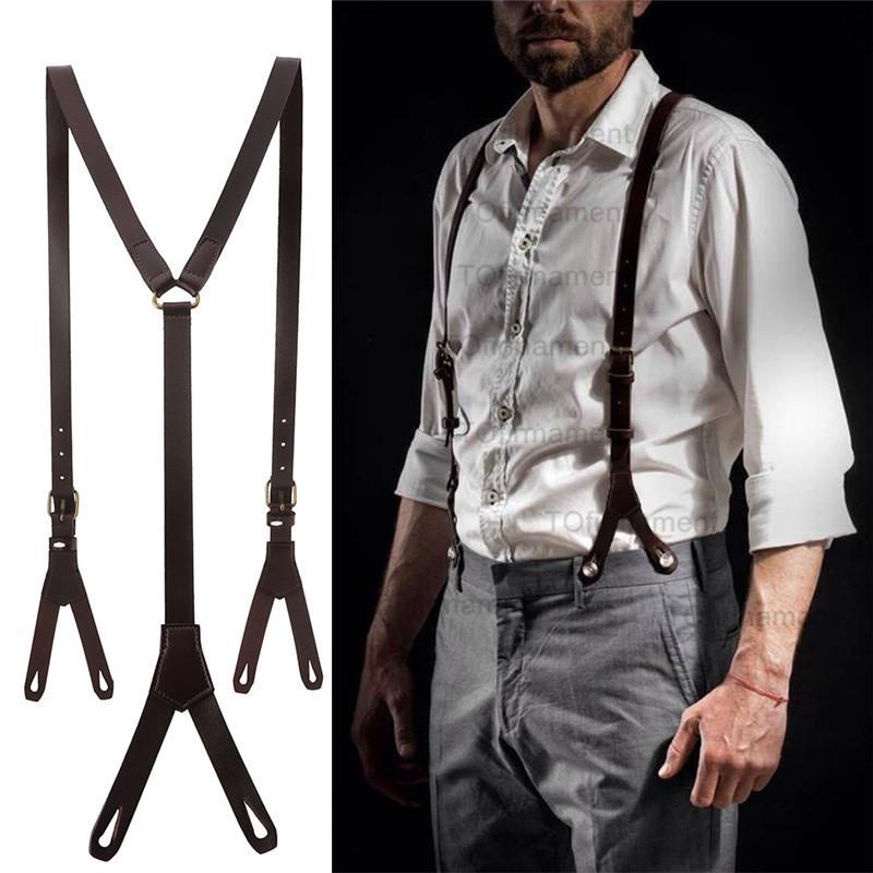 1.7cm de haute qualité réel de Split avec bracelet en cuir de peau de vache Femmes Hommes 6 Bouton Cowboy Suspenders Wear CX200807 Gril