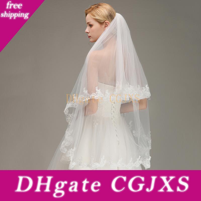 Blanc d'Ivoire mariée Veils Deux couches Longueur nuptiale Accessoires Fingertip dentelle Appliqued bord avec un peigne moins de 10 $ Cpa1437