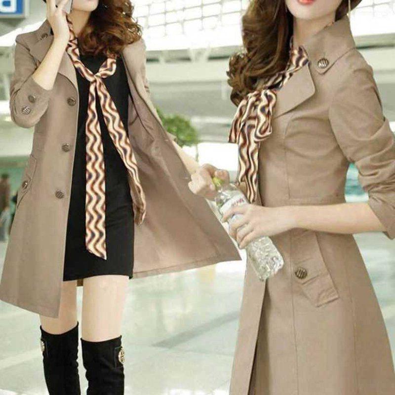 MOFGA High quality silk windbreaker Women's Spring and Autumn New Korean style slim mid-length Windbreaker scarf coat scarf women's single-b
