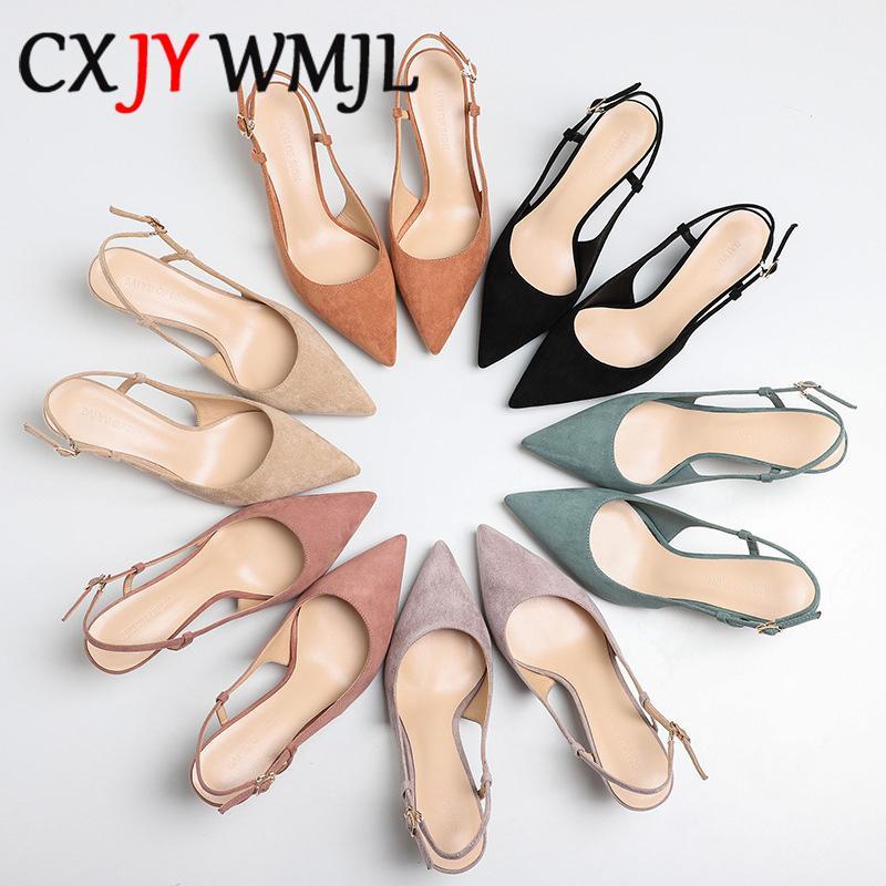 Schuhe Frau 2020 Frühling 6cm Thin High Heels Pumps weiblich Spitzschuh Fest Flock Damenschuhe Büro-Dame elegante Sandalen Y200620
