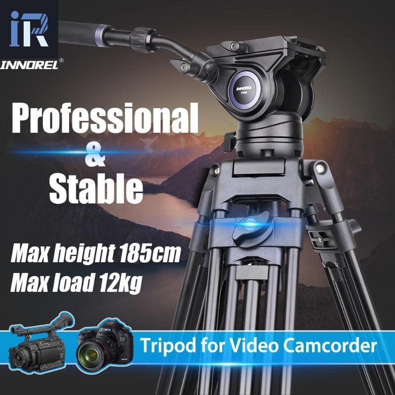 INNOREL VT80 Professional Aluminum Video Tripod Hydraulic Fluid Video Head Camera Tripod For Dslr Camcorder Dv 1.85M 12kg Load