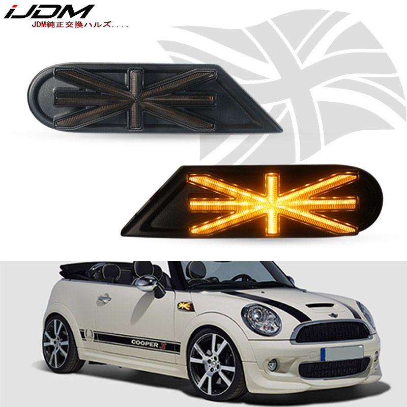 iJDM car Side Marker Lamps Amber LED Lights For MKII MINI Cooper R55 R56 R57 R58 R59 Dynamic Blinking Turn Signal Light 12V