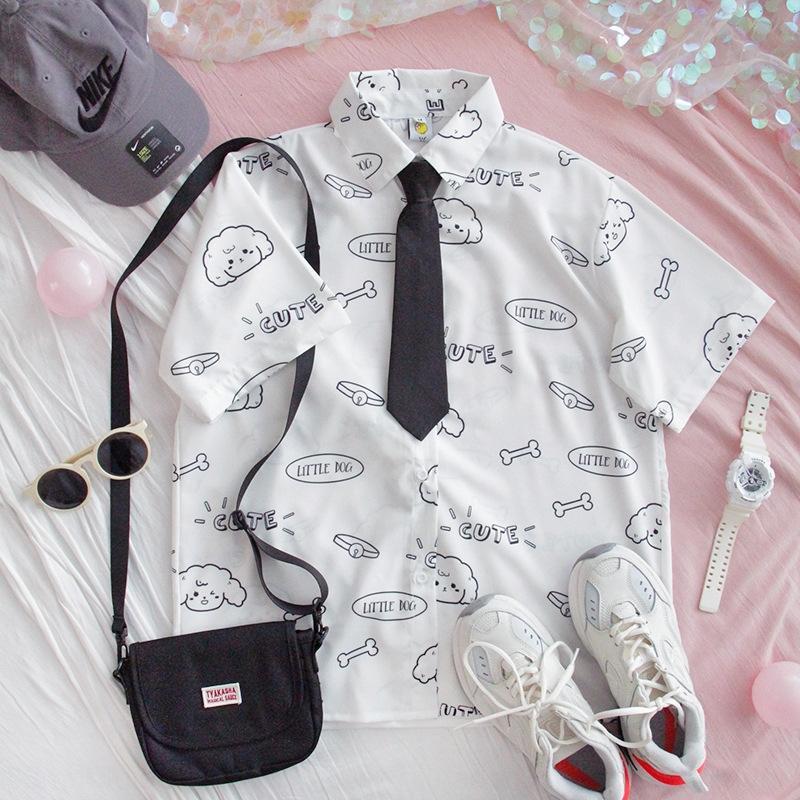 858af Xiasen лето милая девушка короткий рукав семьи свободно Ins модный студент шифон рубашка рубашка галстук мягкая девушка Harajuku кардиган