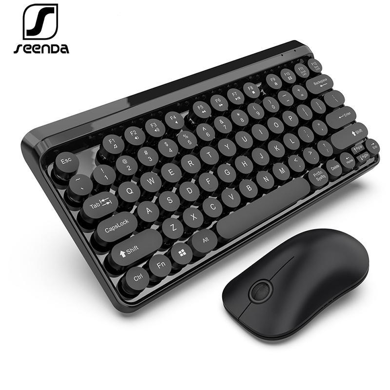 Teclado SeenDa 2.4G e teclado sem fio Mouse Set Multimedia Chocolate Key Cap multi Compatível com sistema sem fio