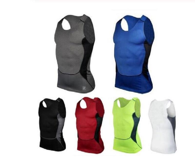S-XXL Hommes Courir Gilet sans manches Gym Fitness Sports compression des T-shirts gymnase de sport de haute qualité Vest