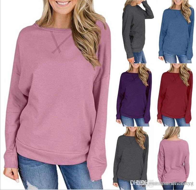 Molla di autunno per il cotone delle ragazze della camicia a maniche lunghe in cotone signore lavora a maglia Abbigliamento sexy top da donna Fashion Casual Top dimensione della moda