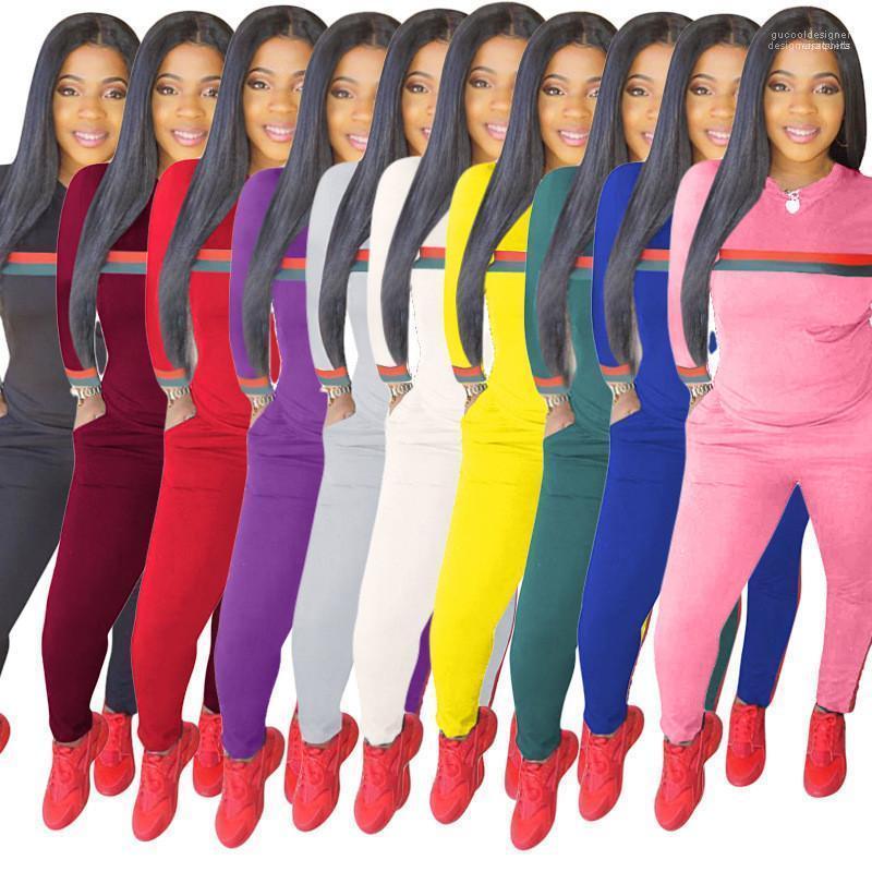 جيوب 2020 ربيع المرأة الصلبة رياضية مخطط كم نحيل طويل البلوز أنثى مجموعات 2PCS النقي Sportswears اللون السيدات مع
