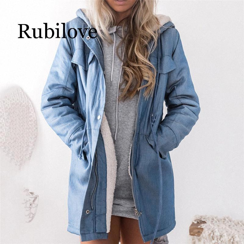 Женская капюшоном куртки Женщины куртка плюша пальто Повседневный длинным рукавом джинсовой куртки Длинные Жан Outwear Шинель Женская Coat AEOF #