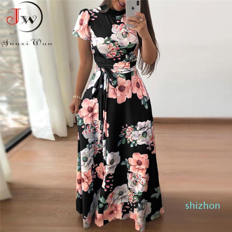Venta caliente de las mujeres del verano vestido maxi 2019 de manga corta casuales de Boho de la impresión floral del vestido largo del cuello alto elegante del partido del vendaje Vestidos Vestidos