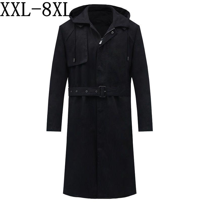 2020 La nueva capa de otoño Marca sudaderas Trench cazadora de los hombres hombre abrigo largo de la capa Negro chaqueta del foso del tamaño extra grande 6XL 7XL 8XL