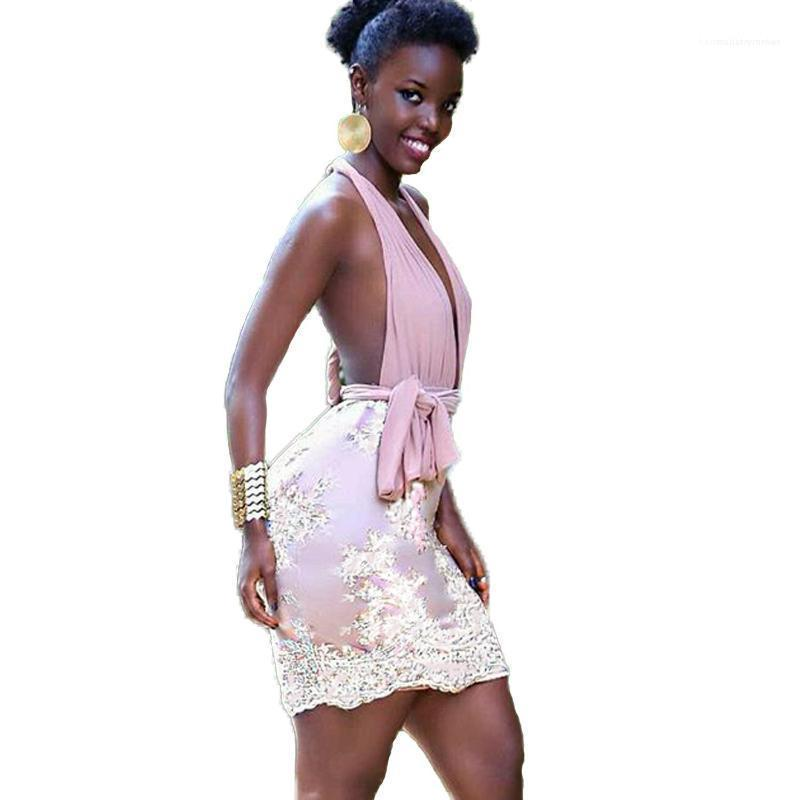 Flaco Faldas Club Femenino de vestidos de diseñador de moda de cuello en V profundo del cordón del mini vestido sin mangas atractivo de los vestidos de verano vestido elegante atractivo caliente