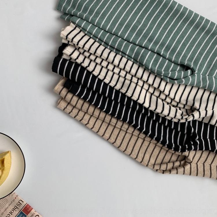 KYeOL Tangzhi İlkbahar ve çizgili Yeni Külotlar ince Sonbahar moda gömlek Kadın Kore tarzı bayan baz gömlek örme balıkçı yaka
