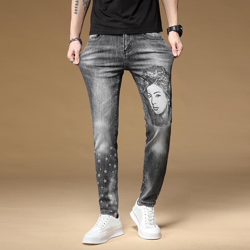 Sıska erkek ve pantolon ve kot slim fit rahat streç moda yaz ince kafa kişiselleştirilmiş erkek pantolon pantolon kot baskılı