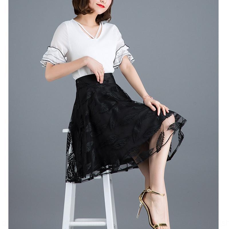 Zm6UG Черный женщин лето 2020 Новый шнурок A- ЛИНИЯ кружевном платье новый сетки высокой талии похудение A- линия юбка в складку юбки