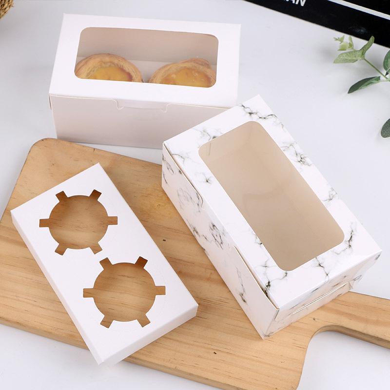 2/4/6 Cavités blanc persillage Boîtes de petit gâteau et d'emballage Boîte à Gâteau biscuit avec fenêtre Muffin Dragées Porte-conteneurs Dessert