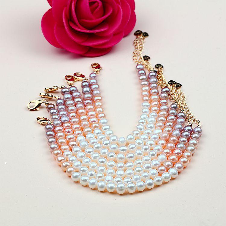 perle d'eau douce naturelle de petits ornements 5-6mm bracelet femme perle