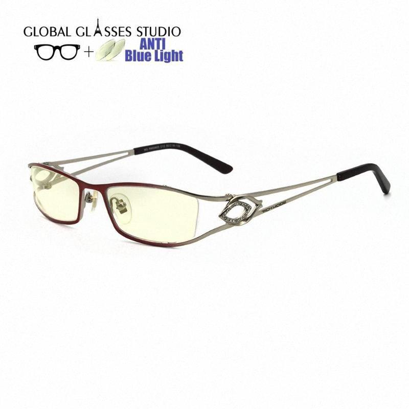 Новая бесплатная доставка Анти синий свет блокировка металл очки оптические очки красный унисекс компьютер RM00605-C12 X8Cv #