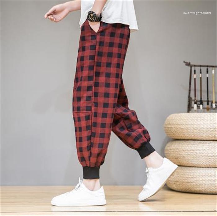 Gevşek Moda Harem Pantolon jimnastik pantolonu Çin Stili Tasarımcı Erkek Retro Kafes Kırpılmış Günlük Pantolon Tide Artı
