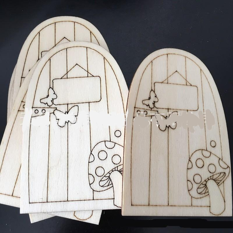 Wooden Fariy Door Ornaments Carving Small Gate Mushroom Butterfly Depicted Craft Doors Decoration Diy Wood Hut Gift Kids Children 0 35xp C2