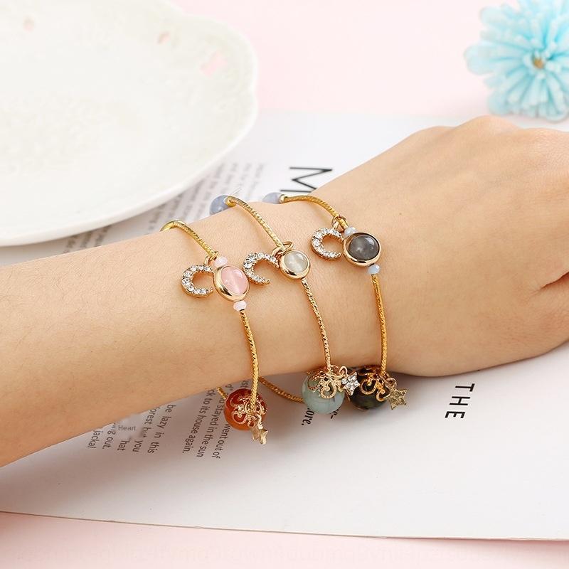 Is4Fc koreanischen Stil natürliche weibliche Persönlichkeit Stern Perlenarmband Kristallmond Universum wulstige Paar Transfer Kristall Armband