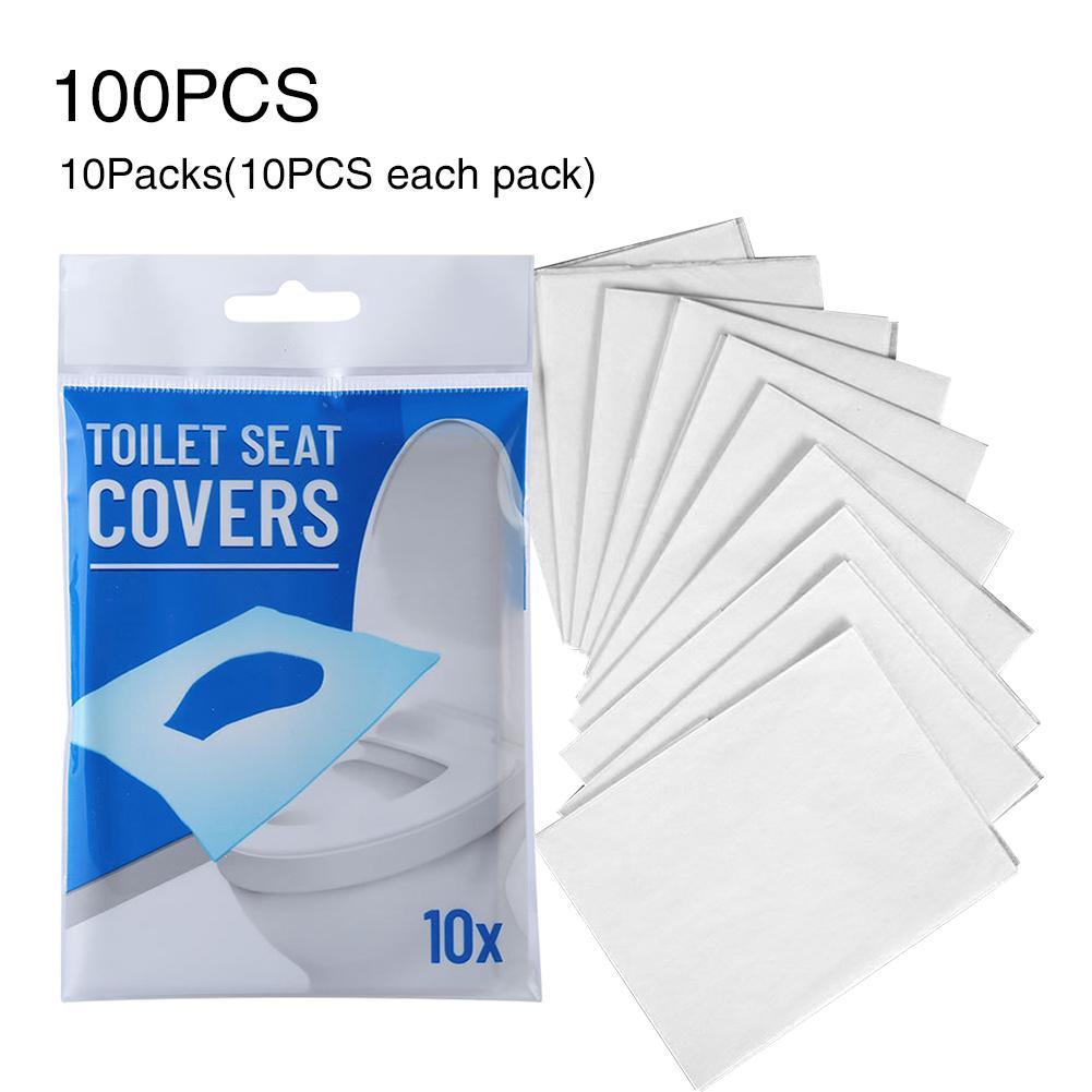 100pcs Tuvalete Atılabilir Tek Klozet Kapak Hotel Universal Kağıt Mat Taşınabilir