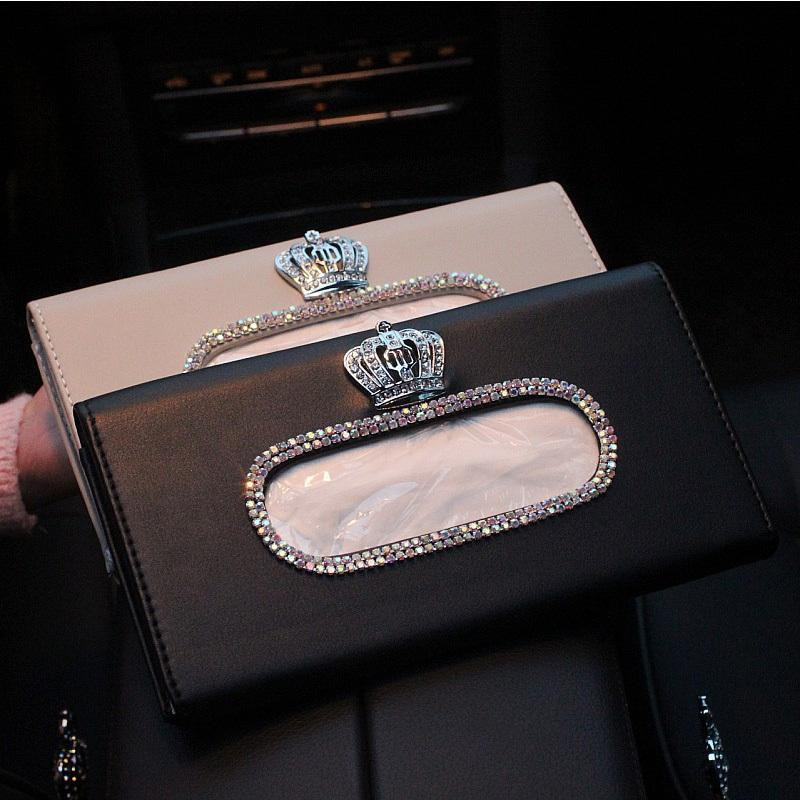 Fashion Crown Crystal Car Tissue Box Sun Visor Leather Auto Tissue Bag Sunvisor Hanging Holder Case Napkin For Car Accessories Y200328