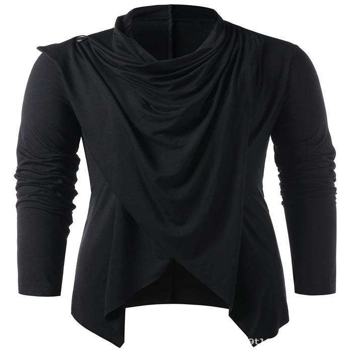 Katı Renk Hırka T Gömlek Erkek Tasarımcı Uzun Kollu Casual Tees Sonbahar Moda Gevşek Erkekler tişörtleri